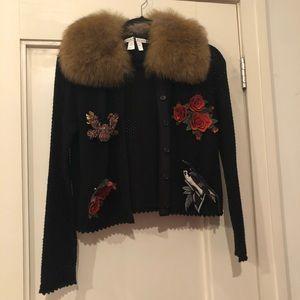 NEW! Alice + Olivia Black Cardigan Fur Collar